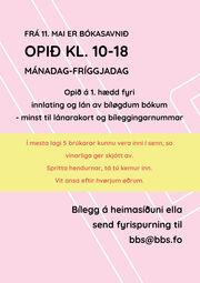 Frá 11. mai er bókasavnið opið kl. 10-18