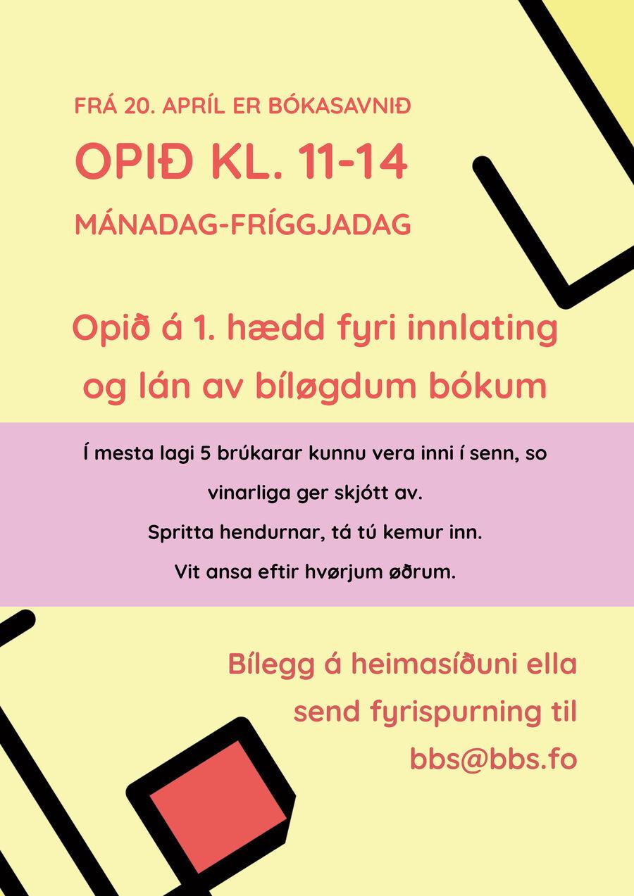 Bókasavnið letur upp 20. apríl