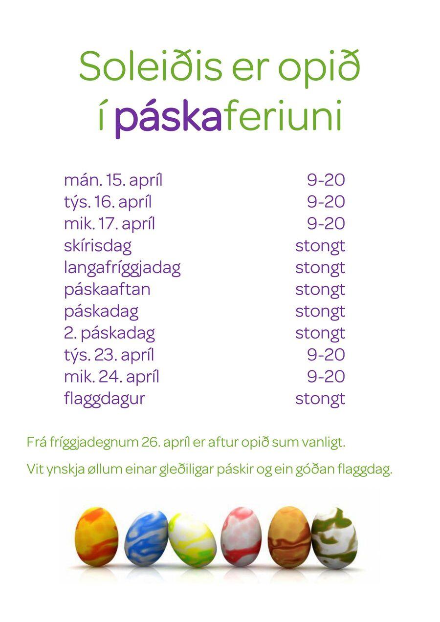 Páskir 2019 upplatingartíðir