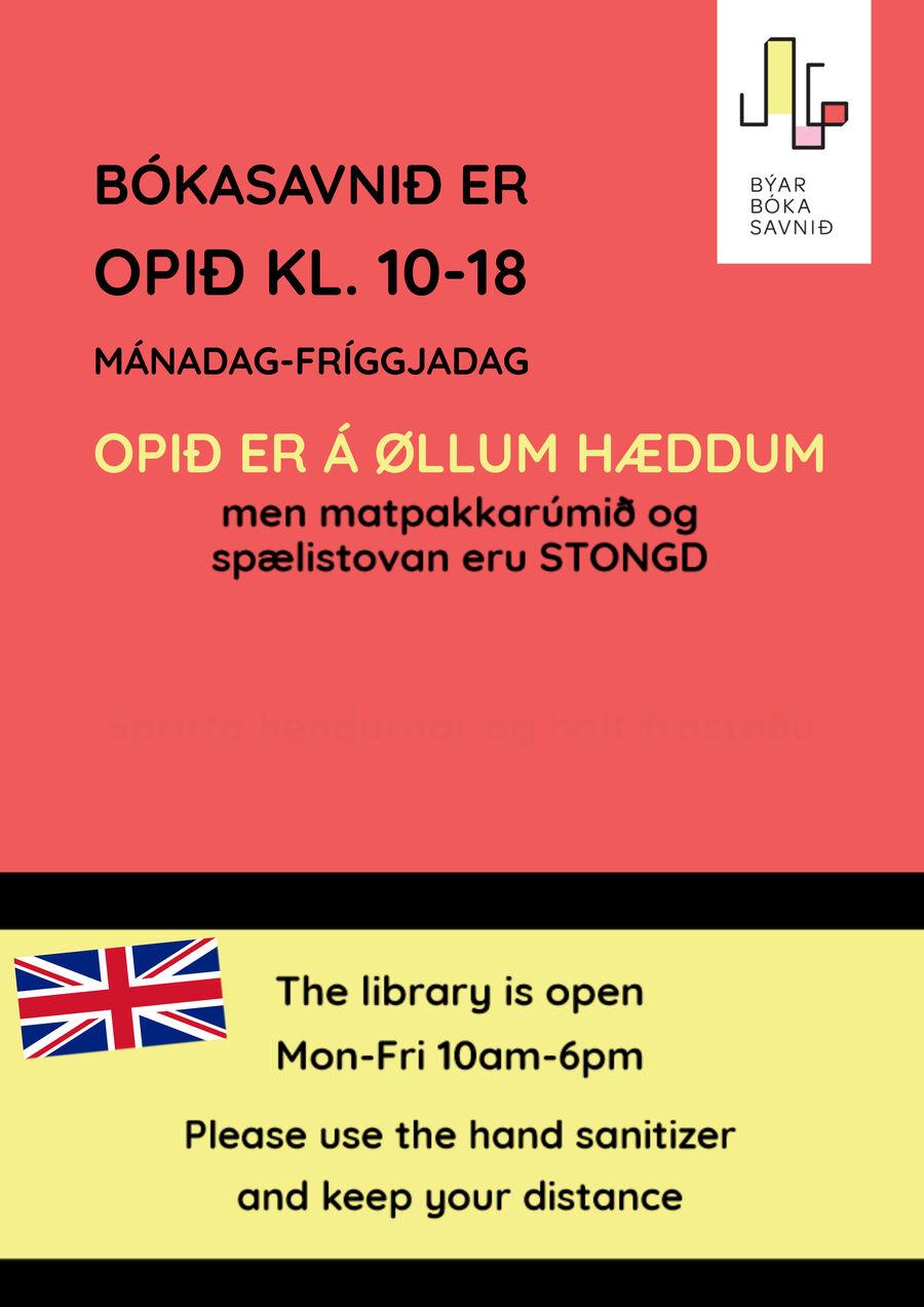 Bókasavnið er opið gerandisdagar kl. 10-18